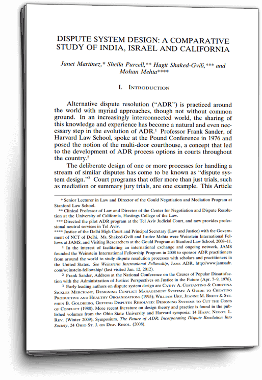Martinez, Spurcell, Shaked and Mehta, Comparing Court ADR Programs in India, Israel and USA, Cordazo Law Journal, 2013